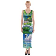 Swan Bird Spring Flowers Trees Lake Pond Landscape Original Aceo Painting Art Fitted Maxi Dress