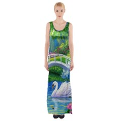 Swan Bird Spring Flowers Trees Lake Pond Landscape Original Aceo Painting Art Maxi Thigh Split Dress