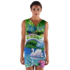 Swan Bird Spring Flowers Trees Lake Pond Landscape Original Aceo Painting Art Wrap Front Bodycon Dress