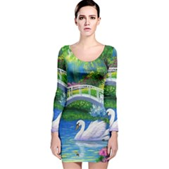 Swan Bird Spring Flowers Trees Lake Pond Landscape Original Aceo Painting Art Long Sleeve Velvet Bodycon Dress
