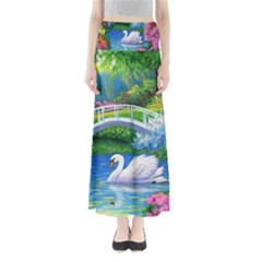 Swan Bird Spring Flowers Trees Lake Pond Landscape Original Aceo Painting Art Maxi Skirts