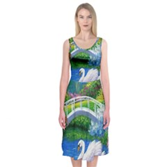 Swan Bird Spring Flowers Trees Lake Pond Landscape Original Aceo Painting Art Midi Sleeveless Dress