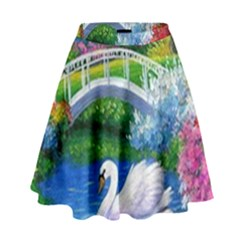 Swan Bird Spring Flowers Trees Lake Pond Landscape Original Aceo Painting Art High Waist Skirt