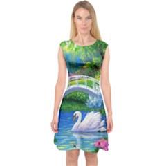 Swan Bird Spring Flowers Trees Lake Pond Landscape Original Aceo Painting Art Capsleeve Midi Dress