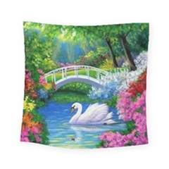 Swan Bird Spring Flowers Trees Lake Pond Landscape Original Aceo Painting Art Square Tapestry (small)