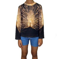 3d Beautiful Peacock Kids  Long Sleeve Swimwear