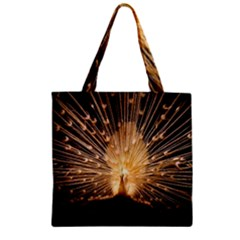 3d Beautiful Peacock Zipper Grocery Tote Bag