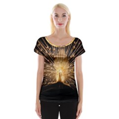 3d Beautiful Peacock Women s Cap Sleeve Top