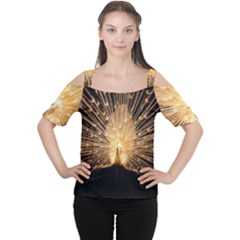 3d Beautiful Peacock Women s Cutout Shoulder Tee