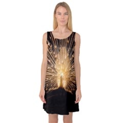 3d Beautiful Peacock Sleeveless Satin Nightdress