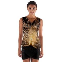 3d Beautiful Peacock Wrap Front Bodycon Dress