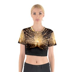 3d Beautiful Peacock Cotton Crop Top