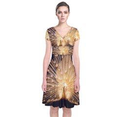 3d Beautiful Peacock Short Sleeve Front Wrap Dress