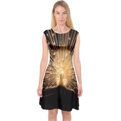 3d Beautiful Peacock Capsleeve Midi Dress