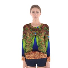 3d Peacock Bird Women s Long Sleeve Tee