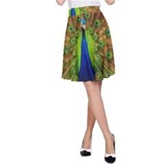 3d Peacock Bird A-Line Skirt