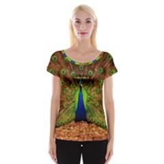 3d Peacock Bird Women s Cap Sleeve Top