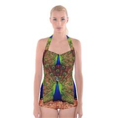 3d Peacock Bird Boyleg Halter Swimsuit