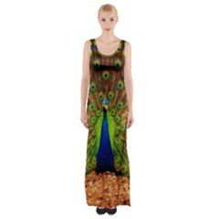 3d Peacock Bird Maxi Thigh Split Dress