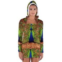 3d Peacock Bird Women s Long Sleeve Hooded T Shirt