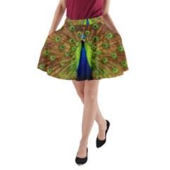 3d Peacock Bird A Line Pocket Skirt