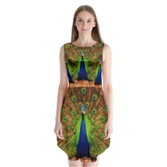 3d Peacock Bird Sleeveless Chiffon Dress