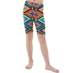 African Tribal Patterns Kids  Mid Length Swim Shorts