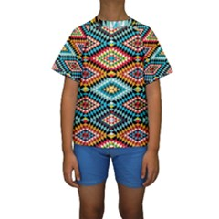 African Tribal Patterns Kids  Short Sleeve Swimwear