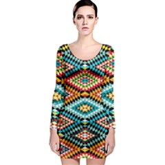 African Tribal Patterns Long Sleeve Bodycon Dress