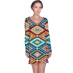 African Tribal Patterns Long Sleeve Nightdress