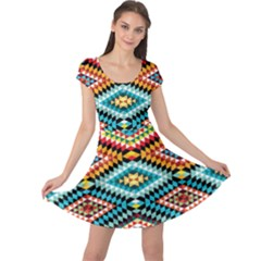 African Tribal Patterns Cap Sleeve Dresses