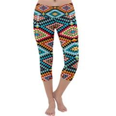 African Tribal Patterns Capri Yoga Leggings