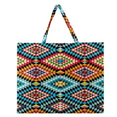 African Tribal Patterns Zipper Large Tote Bag