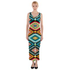 African Tribal Patterns Fitted Maxi Dress