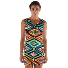 African Tribal Patterns Wrap Front Bodycon Dress