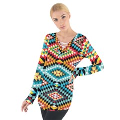 African Tribal Patterns Women s Tie Up Tee