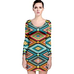 African Tribal Patterns Long Sleeve Velvet Bodycon Dress