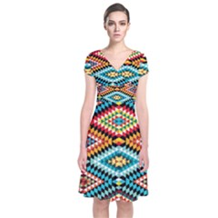 African Tribal Patterns Short Sleeve Front Wrap Dress
