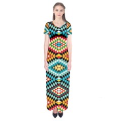 African Tribal Patterns Short Sleeve Maxi Dress