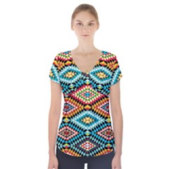 African Tribal Patterns Short Sleeve Front Detail Top