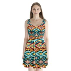 African Tribal Patterns Split Back Mini Dress
