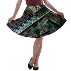 Computer Ram Tech A-line Skater Skirt