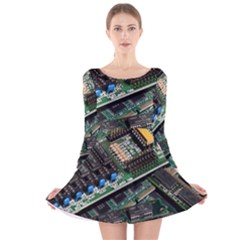 Computer Ram Tech Long Sleeve Velvet Skater Dress