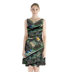 Computer Ram Tech Sleeveless Chiffon Waist Tie Dress