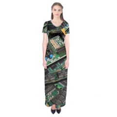 Computer Ram Tech Short Sleeve Maxi Dress