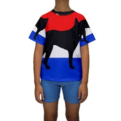 Dutch Shepherd Netherlands Flag Kids  Short Sleeve Swimwear