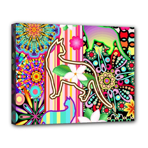 Mandalas, Cats And Flowers Fantasy Digital Patchwork Canvas 14  X 11