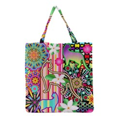 Mandalas, Cats and Flowers Fantasy Digital Patchwork Grocery Tote Bag