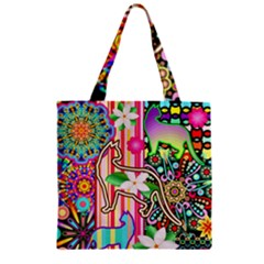 Mandalas, Cats and Flowers Fantasy Digital Patchwork Zipper Grocery Tote Bag