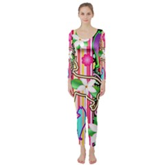 Mandalas, Cats and Flowers Fantasy Digital Patchwork Long Sleeve Catsuit